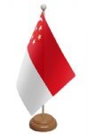 Singapore Desk / Table Flag with wooden stand and base